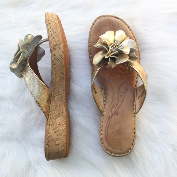 8f2d92d4cae5 Born Shoes - Born metallic gold leather flower wedge sandals